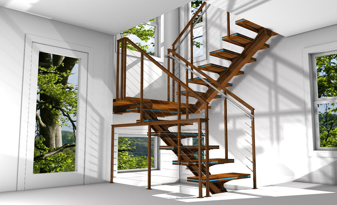 rusted steel stairs color rendering