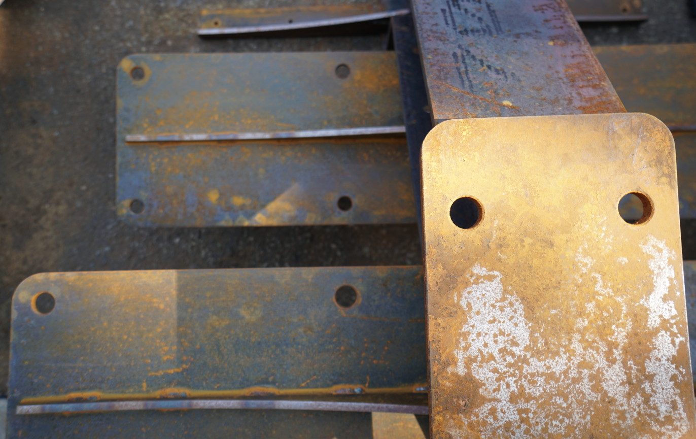 rusted steel cantilevered stairs detail2