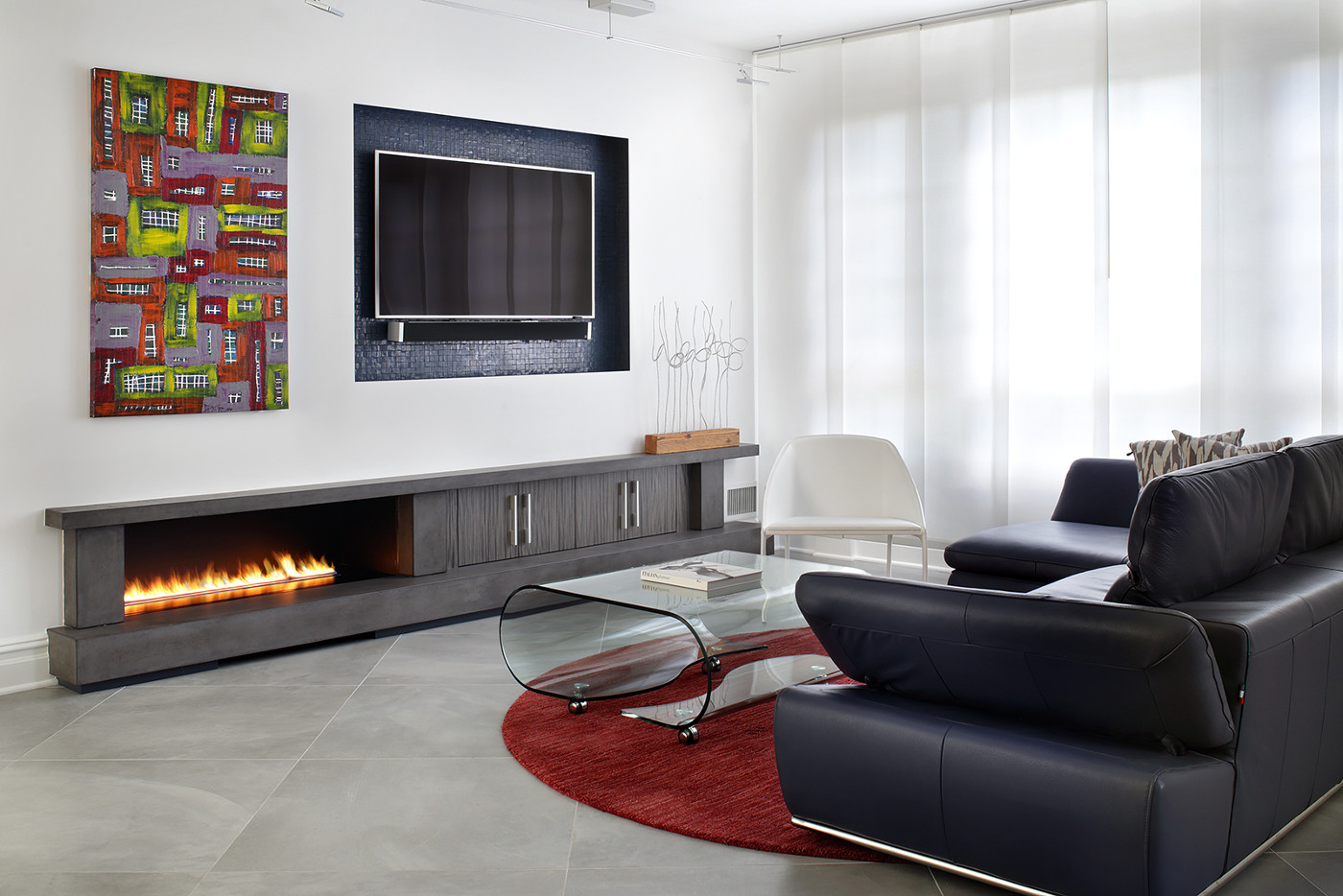 modern concrete kitchen - concrete linear fireplace - family room - ribbon fireplace