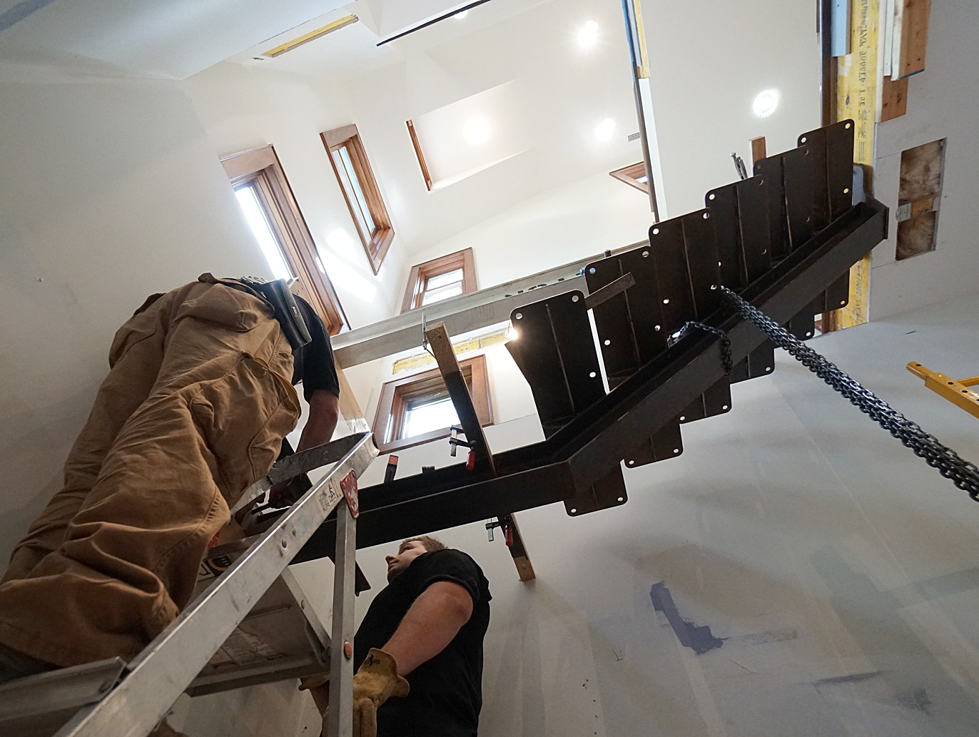 rusty steel I-beam stairs installation picture 2