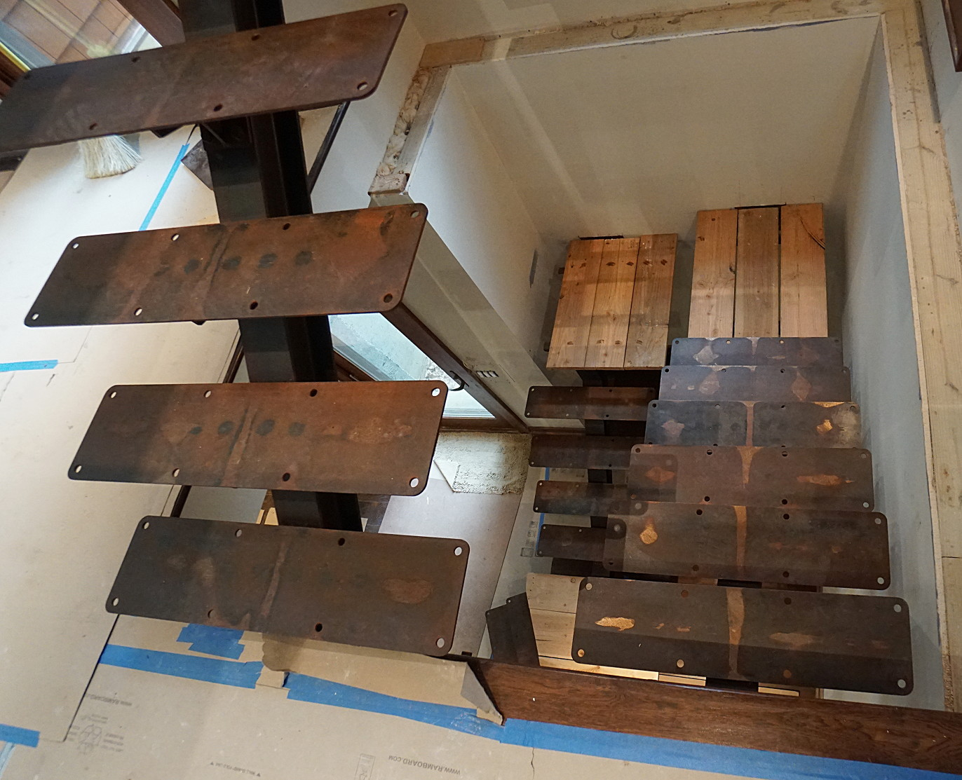 rusty steel I-beam stairs installation picture 3