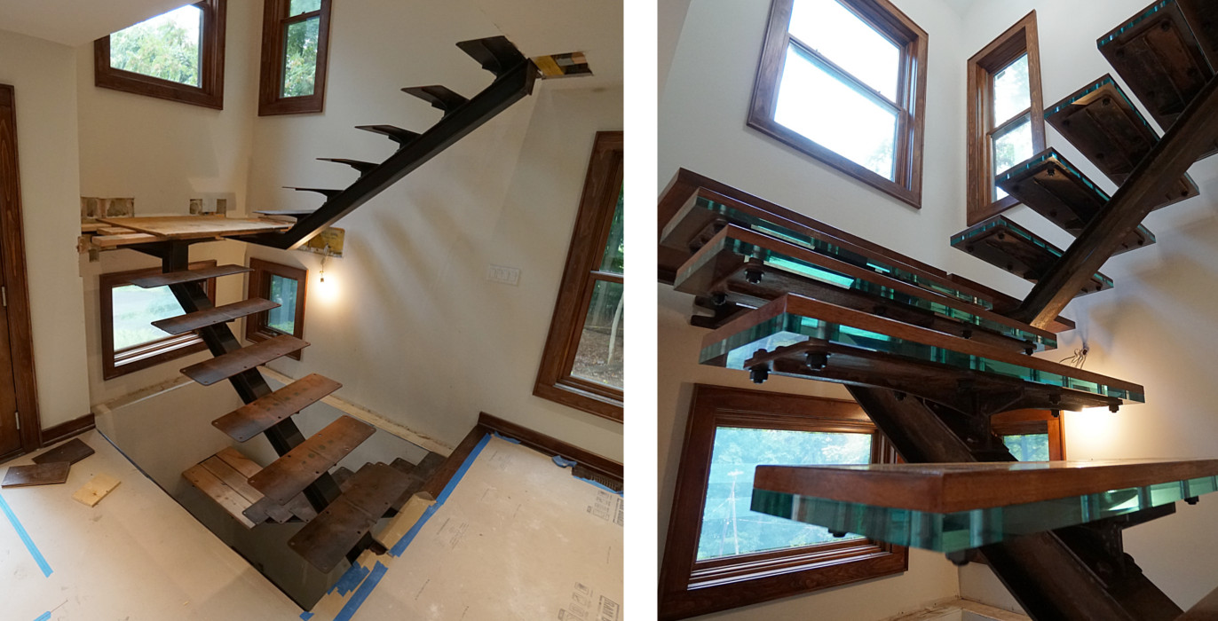 rusty steel I-beam stairs installation picture 4