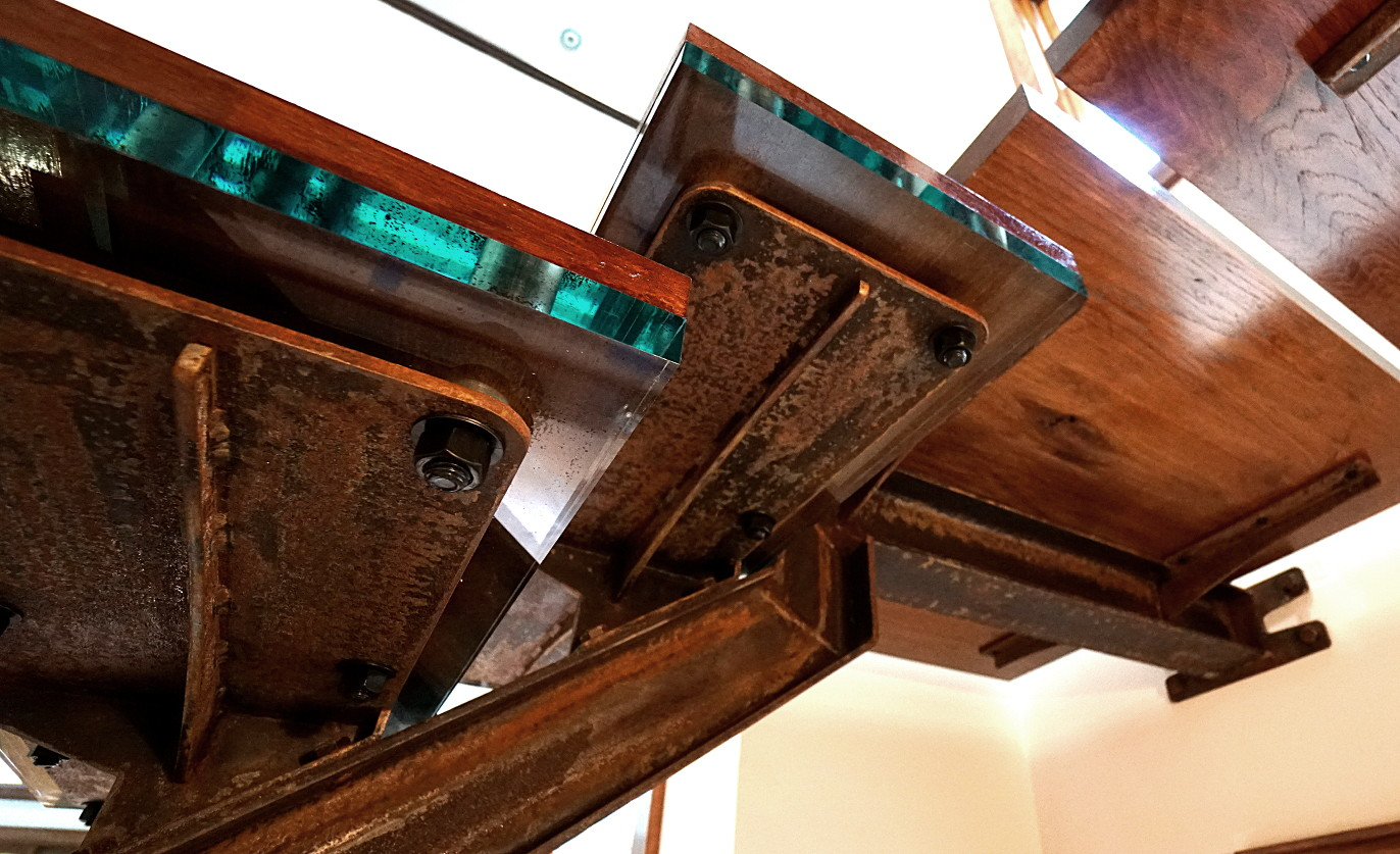 rusty steel I-beam stairs installation picture 5
