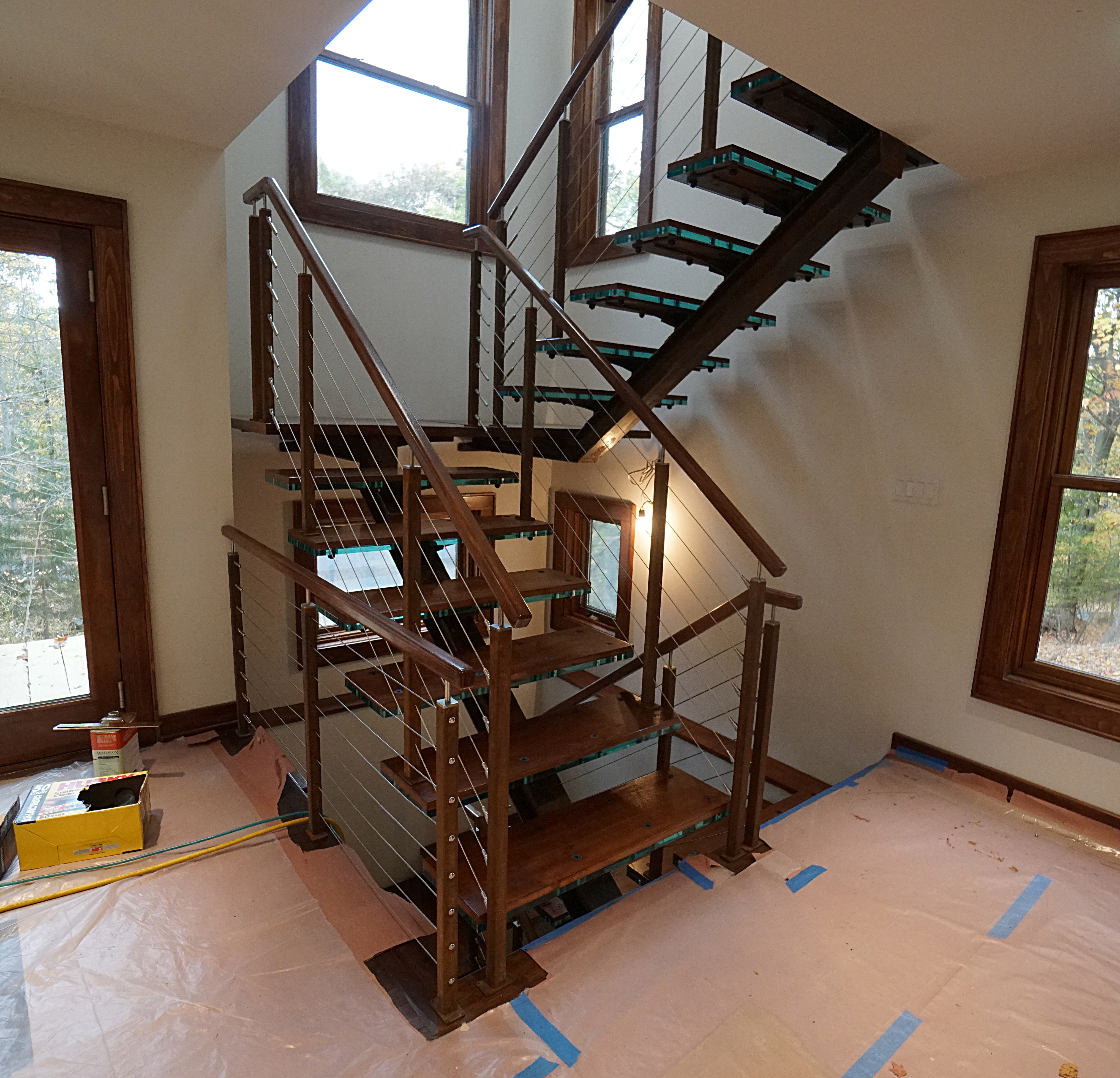 rusty steel I-beam stairs installation picture 8